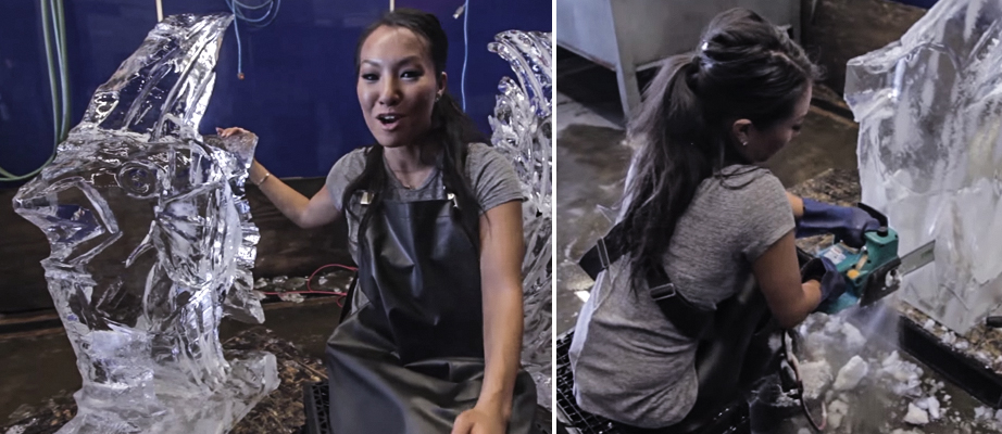 Asa Akira Does Ice Carving - Hobbies