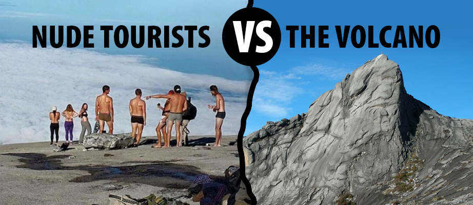 Nude Tourists Vs. The Volcano